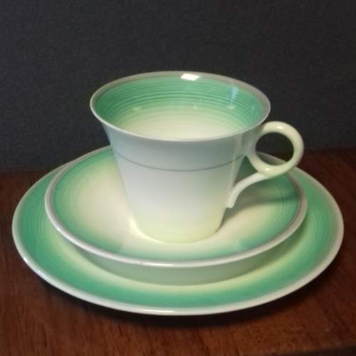 Art Deco Shelley Regent Shape Green Banded Trio image-1