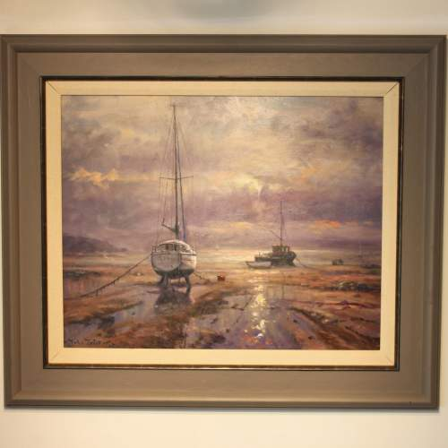 Boats Moored at Bethesda Oil Painting by John Trickett image-1