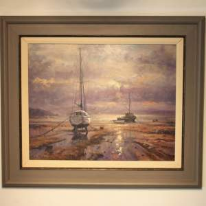 Boats Moored at Bethesda Oil Painting by John Trickett