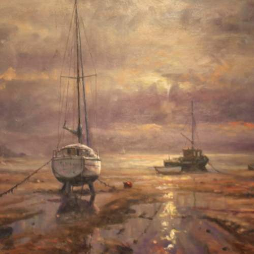 Boats Moored at Bethesda Oil Painting by John Trickett image-2