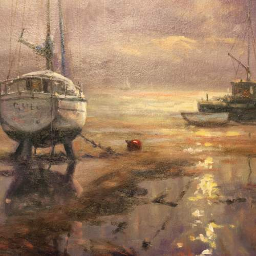 Boats Moored at Bethesda Oil Painting by John Trickett image-3