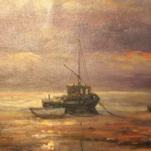 Boats Moored at Bethesda Oil Painting by John Trickett image-4