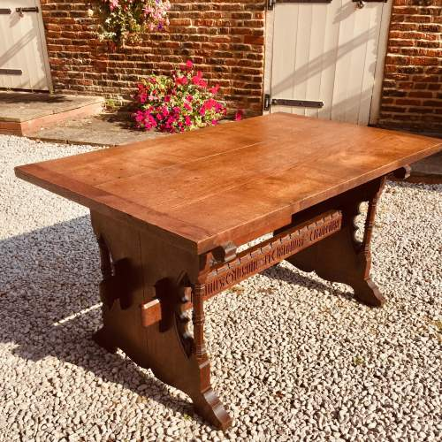 Mid 19th Century Gothic Italian Carved Oak Table with Inscription image-1