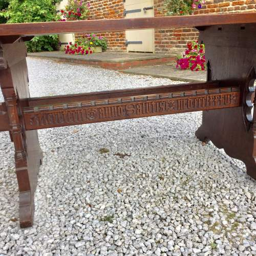 Mid 19th Century Gothic Italian Carved Oak Table with Inscription image-2