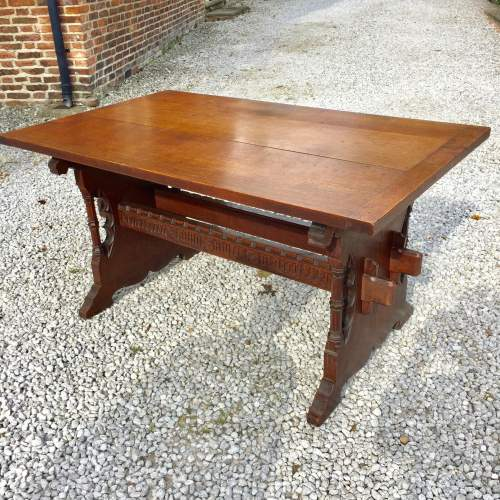 Mid 19th Century Gothic Italian Carved Oak Table with Inscription image-4
