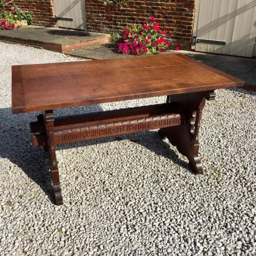 Mid 19th Century Gothic Italian Carved Oak Table with Inscription image-3
