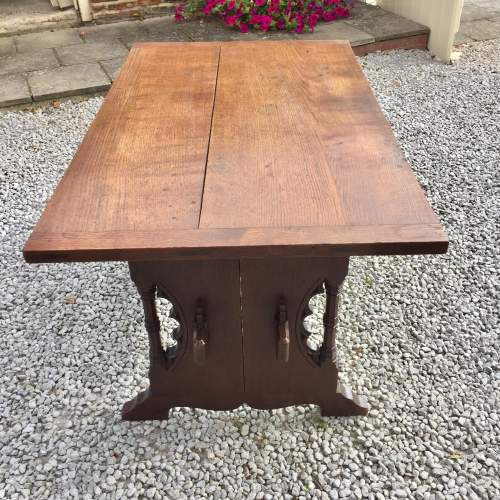 Mid 19th Century Gothic Italian Carved Oak Table with Inscription image-6
