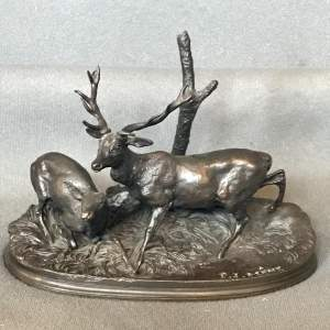 P J Mene Bronze of a Stag and a Deer