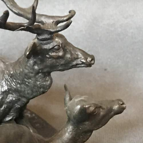 P J Mene Bronze of a Stag and a Deer image-3
