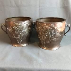 Matching Pair of Japanese Meiji Period Bronze Jardinieres