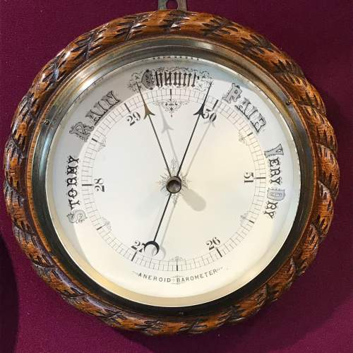 Large Victorian Oak Rope Twist Wall Barometer image-1