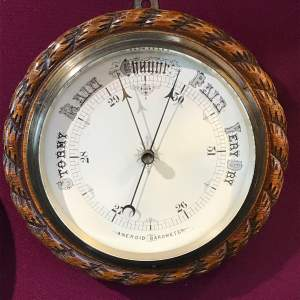 Large Victorian Oak Rope Twist Wall Barometer