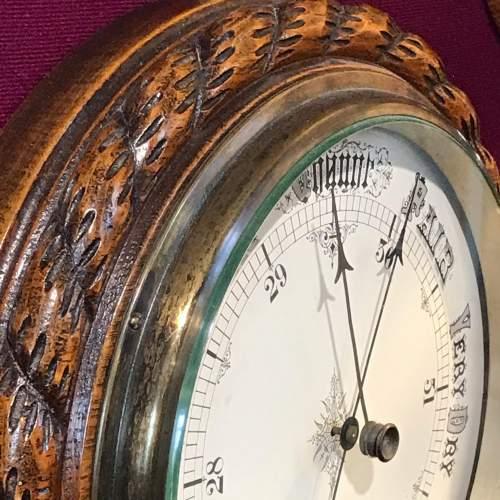 Large Victorian Oak Rope Twist Wall Barometer image-2