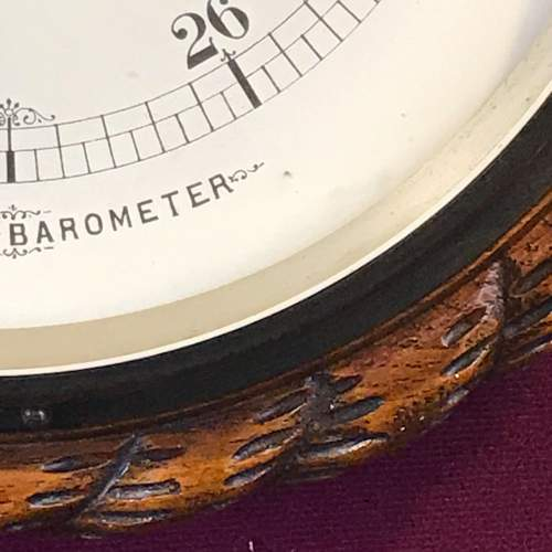 Large Victorian Oak Rope Twist Wall Barometer image-3