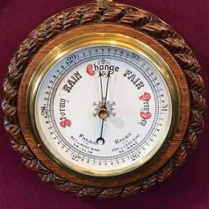 Small Victorian Oak Rope Twist Wall Barometer