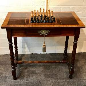 19th Century Chess Table with Satinwood Crossbanded Top