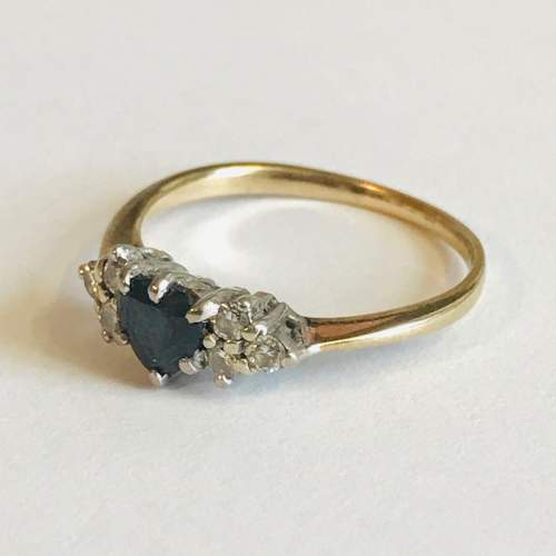 9ct Gold Sapphire and Diamond Ring image-1
