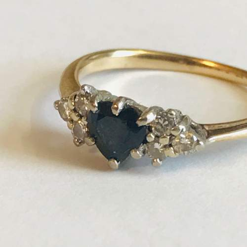 9ct Gold Sapphire and Diamond Ring image-2