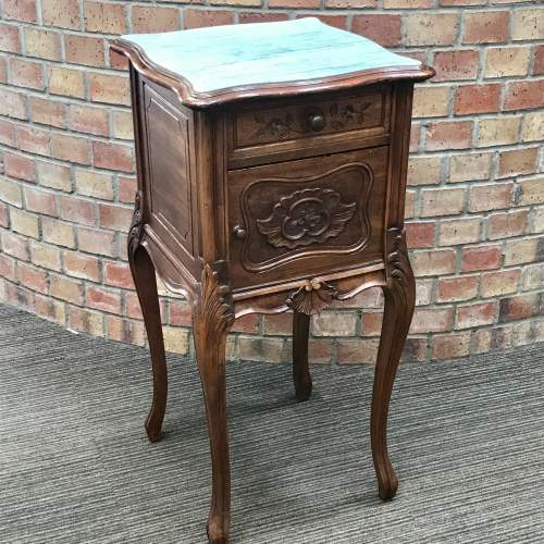 19th Century French Walnut Marble Top Bedside Cupboard image-1