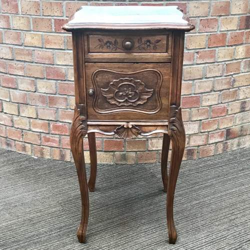 19th Century French Walnut Marble Top Bedside Cupboard image-2