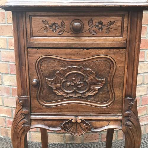 19th Century French Walnut Marble Top Bedside Cupboard image-3