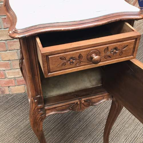 19th Century French Walnut Marble Top Bedside Cupboard image-4