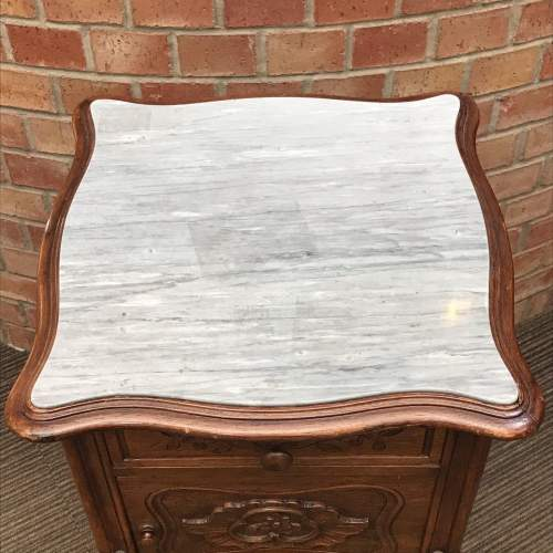 19th Century French Walnut Marble Top Bedside Cupboard image-5