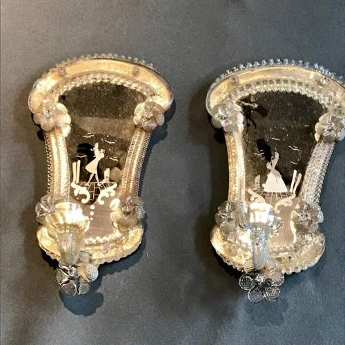 Pair of Murano Glass Mirrored Wall Sconces image-1