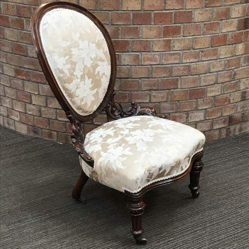 Victorian Walnut Framed Nursing Chair image-1