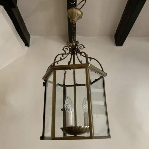Six Sided Brass Lantern with Unusual Side Opening image-1
