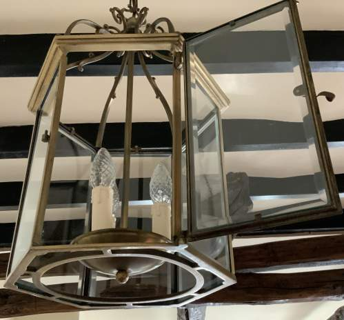 Six Sided Brass Lantern with Unusual Side Opening image-3