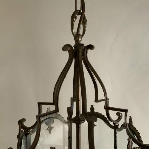 1940s Ornate Brass 6 Sided Lantern Triple Lamp image-5