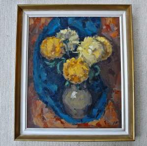 Original Oil Painting Vase with Yellow Flowers by James Fry