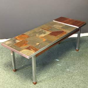 1960s Beech and Mahogany Coffee Tile Top Table