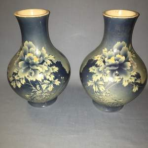 Large Pair of Japanese 19th Century Blue and White Baluster Vases
