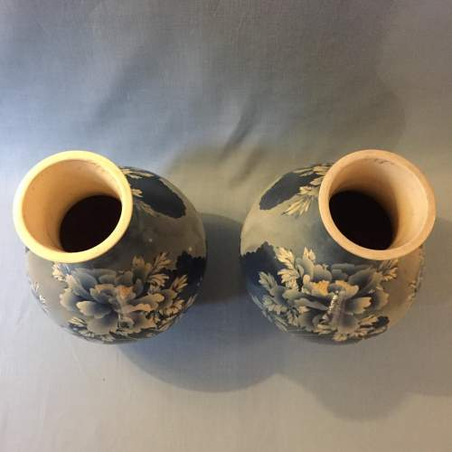 Large Pair of Japanese 19th Century Blue and White Baluster Vases image-5