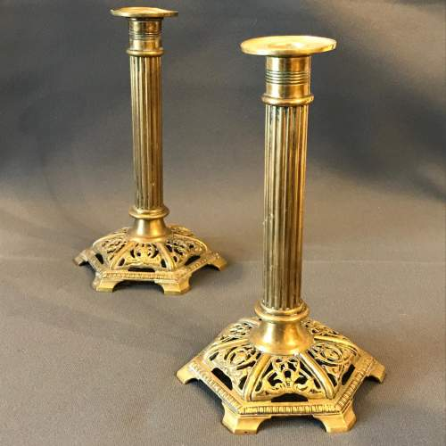 Pair of Ornate Brass Candlesticks image-1
