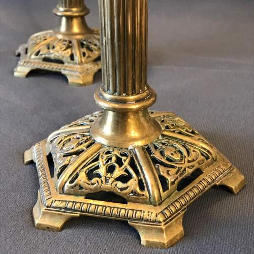 Pair of Ornate Brass Candlesticks image-2