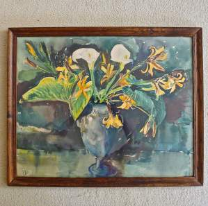 Original Watercolour of a Blue Vase with Lillies