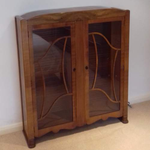 Art Deco 1930s Walnut Display Cabinet image-1