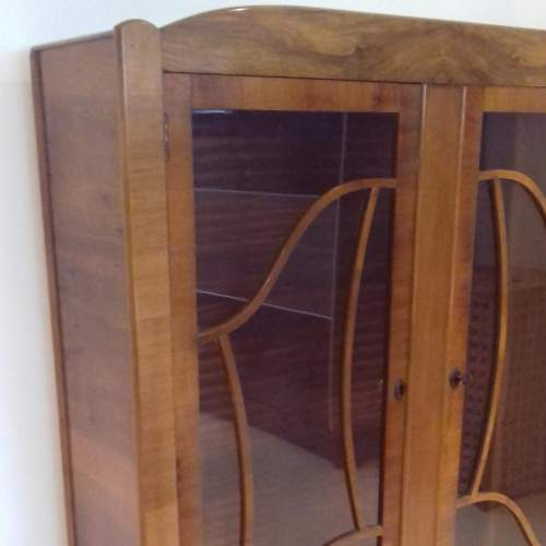 Art Deco 1930s Walnut Display Cabinet image-2