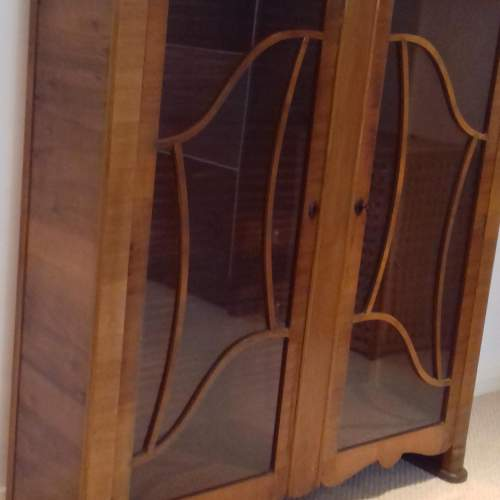Art Deco 1930s Walnut Display Cabinet image-5