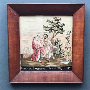 Mid 19th Century Framed Religious Tapestry