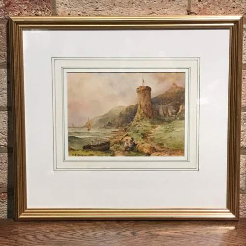 Late 19th Century Watercolour of a Beach and Cliff Scene image-1