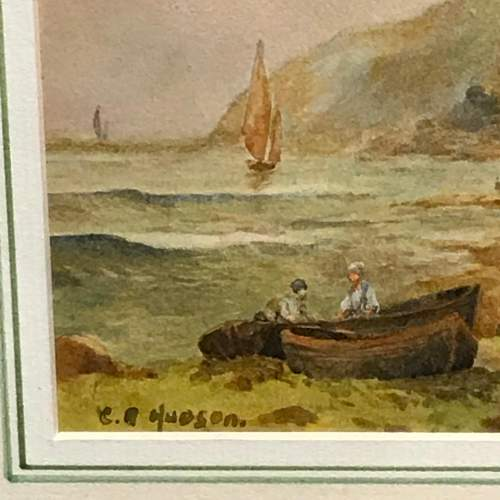 Late 19th Century Watercolour of a Beach and Cliff Scene image-2