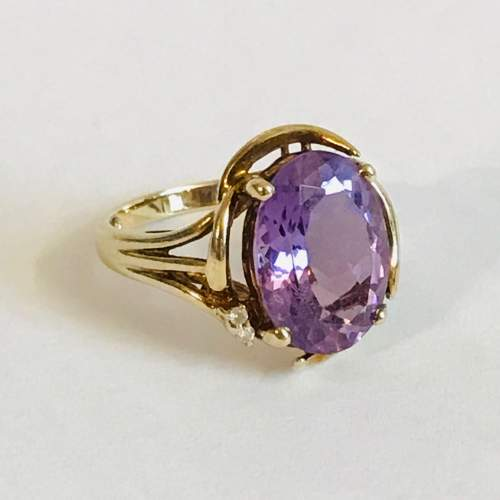 Vintage 9ct Gold Amethyst and Diamond Ring image-1