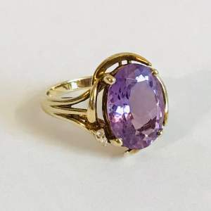 Vintage 9ct Gold Amethyst and Diamond Ring