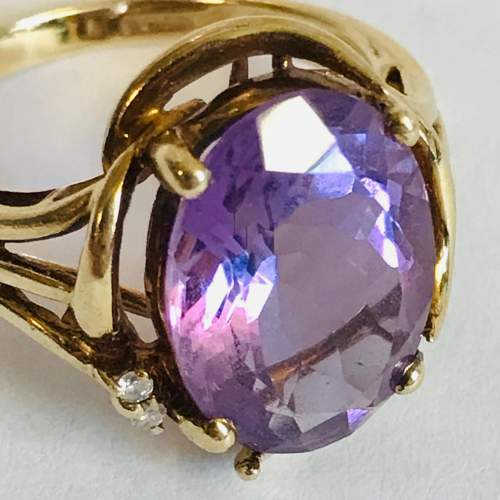 Vintage 9ct Gold Amethyst and Diamond Ring image-2