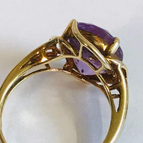 Vintage 9ct Gold Amethyst and Diamond Ring image-3