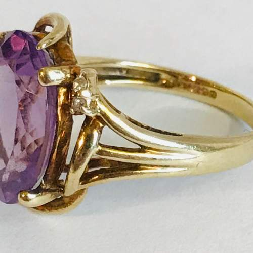 Vintage 9ct Gold Amethyst and Diamond Ring image-4